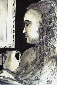 Portrait au pôt / Encre / 50 x 70