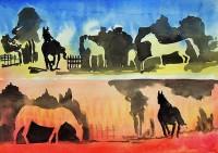 Positif et négatif chevalins 1 / Encre et aquarelle / 45 x 30