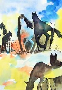Positif et négatif chevalins 2 / Encre et aquarelle / 30 x 45