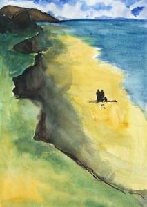 Sur la plage / Aquarelle / 30 x 45