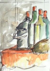 Nature morte aux bouteilles / Aquarelle / 50 x 70