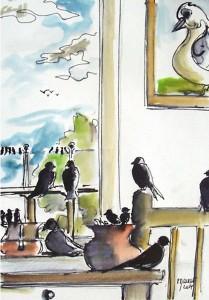 Un nid douillet / Encre et aquarelle / 30 x 45
