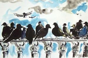Rassemblement pour le grand départ / Encre et aquarelle / 45 x 30