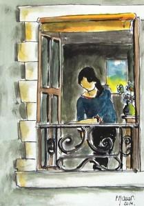 A la fenêtre / Aquarelle et encre / 30 x 45