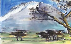 Ombrages au pied du mont / Encre et aquarelle / 40 x 30