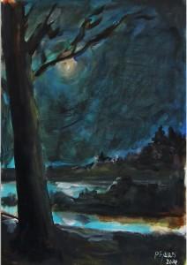 Clair de lune / Aquarelle / 50 x 70