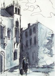 Sur la place du village / Encre / 50 x 70