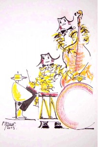 Orchestre des clowns / Encre et aquarelle / 30 x 45