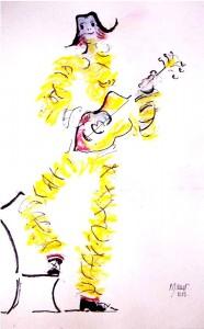 Clown musicien / Encre et aquarelle /30 x 45
