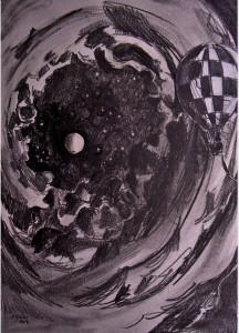 Galaxie / Mines de plomb et collage / 50 x 70