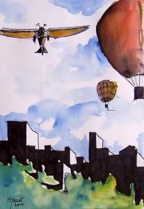 Vol sur la ville 2 / Aquarelle et encre / 30 x 45