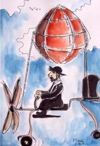 Le rabin volant / Aquarelle et encre / 30 x 45