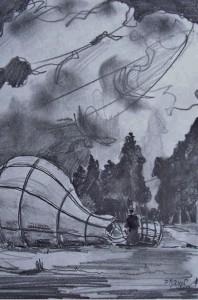L'envol de la montgolfière: Le gonflage / Mines de plomb / 30 x 45