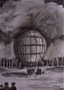 L'envol de la montgolfière: prêt au départ / Mines de plomb / 30 x 45
