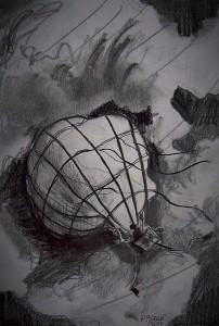 L'envol de la montgolfière: Le vol dans la tempête / Mines de plomb / 30 x 45