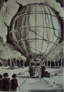 L'envol de la montgolfière: préparatif / Mines de plomb / 30 x 45