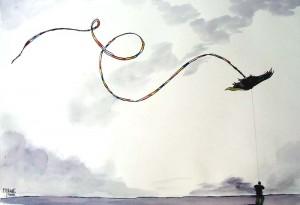 Le cerf volant / Encre / 70 x 50