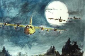 Vol de nuit / Encre et aquarelle / 70 x 50