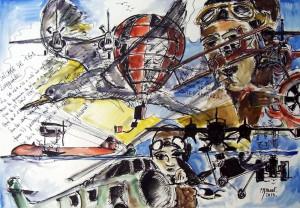 Rèverie d'aviateur 2 / Encre et aquarelle / 70 x 50