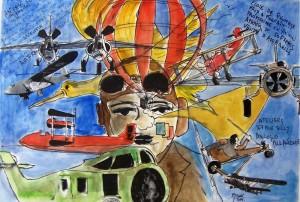 Rèverie d'aviateur 1 / Encre et aquarelle / 70 x 50