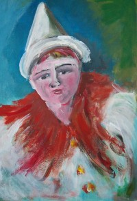 Clown blanc / Acrylique / 50 x 70