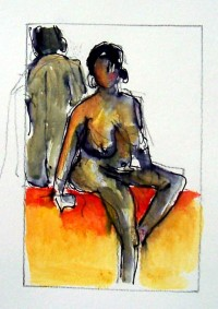 Entre deux poses / Aquarelle / 20 x 30