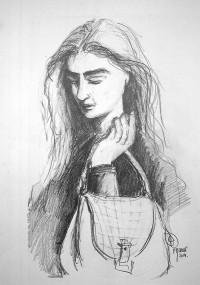 Jeune femme au sac / Mines de plomb / 50 x 70