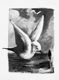 Vol au crépuscule / encre / 50 x 70