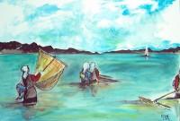 Pêcheuses / Aquarelle / 70 x 50