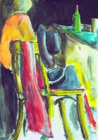 Nature morte à la chaise / Acrylique / 50 x 70