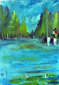 Sur le ponton / Aquarelle / 50 x 70
