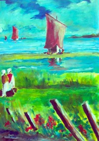 L'arrivée du bateau de pèche / Acrylique / 50 x  70