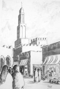 Mosquée et souks / Mines de plomb / 50 x 70