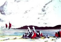 Retour de pèche / Aquarelle et encre / 70 x 50