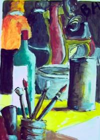 Nature morte aux pinceaux / Acrylique / 50 x 70