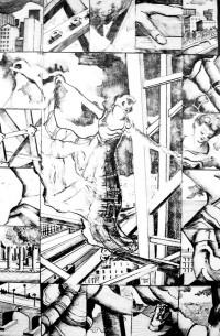 La femme de la tour / Encre / 50 x 70