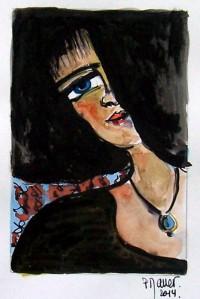 Portrait et perle bleue / Encre et aquarelle / 20 x 30