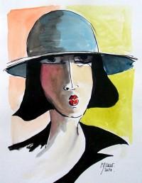 Portrait au chapeau bleu 2  / Encre et aquarelle / 20 x 30