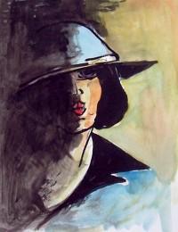 Portrait au chapeau bleu / Encre et aquarelle / 20 x 30