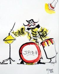 Les clowns musiciens 4 / Encre et aquarelle / 20 x 30