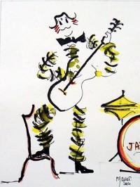 Les clowns musiciens 2 / Encre et aquarelle / 20 x 30