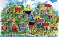 Village Environs de Manaus Brésil / Aquarelle / 70 x 50