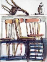 Chaos de chaises / Encre et aquarelle / 50 x 70