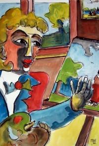 L'artiste au travail / Aquarelle / 50 x 70