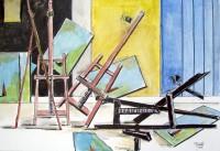 Chaos de chevalets / Aquarelle et encre / 70 x 50