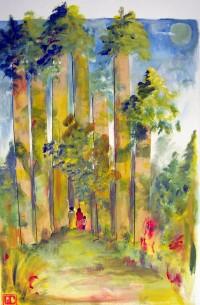 Forêt / Acrylique sur collages / 50 x 70