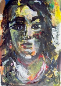 Portrait / Acrylique sur collages / 50 x 70