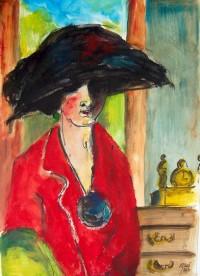 Femme à la veste rouge / Aquarelle / 50 x 70