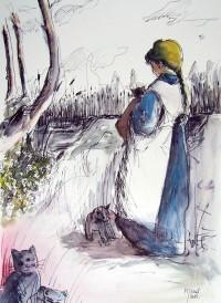 Jeune fille aux chats / Encre et aquarelle / 50 x 70