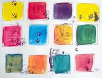 Jeux de chats / Acrylique et encre / 70 x 50